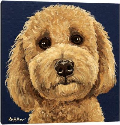 Goldendoodle On Navy I Canvas Art Print