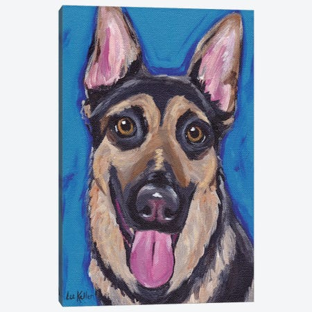 Expressive German Shepherd Canvas Print #HHS28} by Hippie Hound Studios Canvas Wall Art