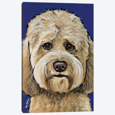 Goldendoodle On Navy II Canvas Print #HHS290} by Hippie Hound Studios Canvas Art Print
