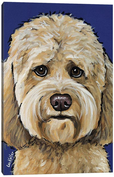 Goldendoodle On Navy II Canvas Art Print