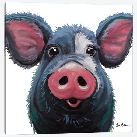Lulu The Pig On White Canvas Print #HHS297} by Hippie Hound Studios Canvas Art