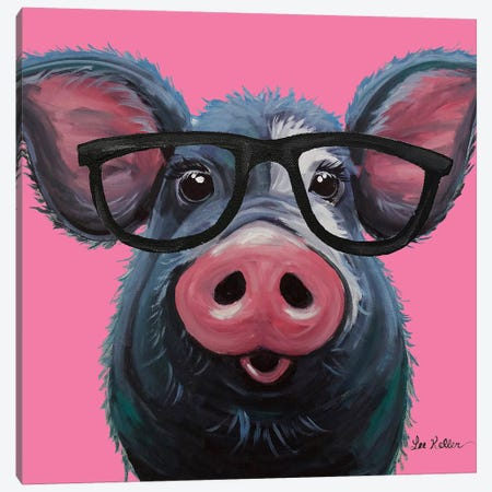 Lulu The Pig With Glasses On Pink Canvas Print #HHS298} by Hippie Hound Studios Art Print