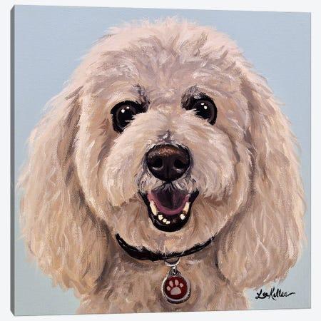 Poodle On Light Blue Canvas Print #HHS302} by Hippie Hound Studios Canvas Art Print