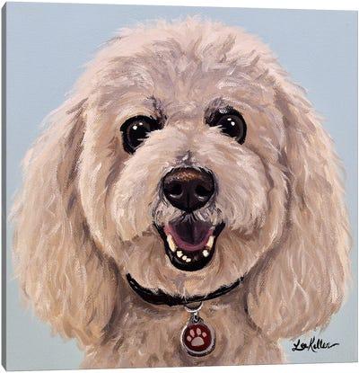Poodle On Light Blue Canvas Art Print