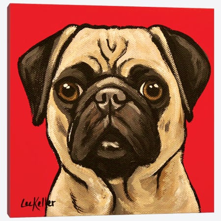 Pug On Red Canvas Print #HHS303} by Hippie Hound Studios Canvas Print