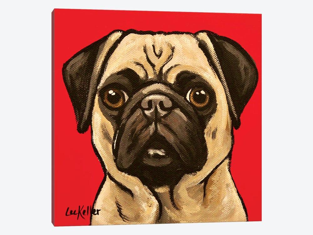 Pug On Red by Hippie Hound Studios 1-piece Canvas Artwork