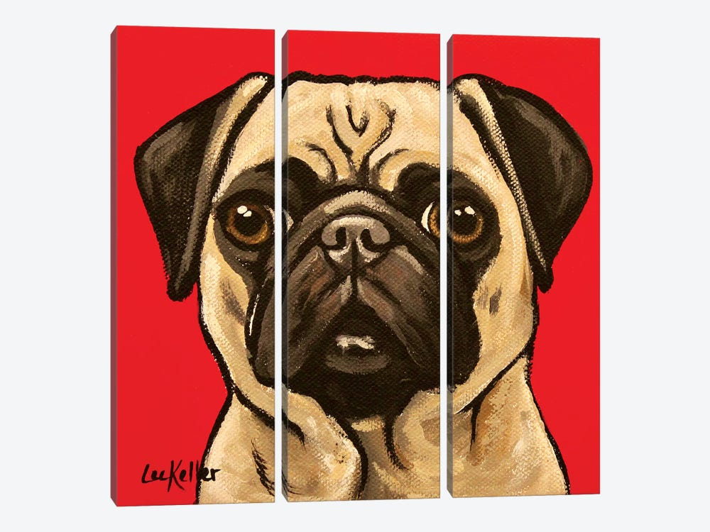 Pug On Red by Hippie Hound Studios 3-piece Canvas Artwork