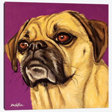 Puggle On Purple Canvas Print #HHS304} by Hippie Hound Studios Canvas Artwork