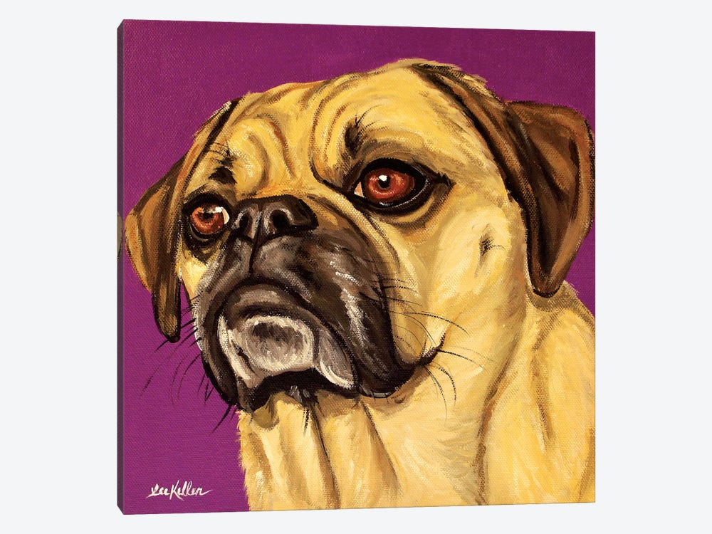 Puggle On Purple by Hippie Hound Studios 1-piece Canvas Art Print