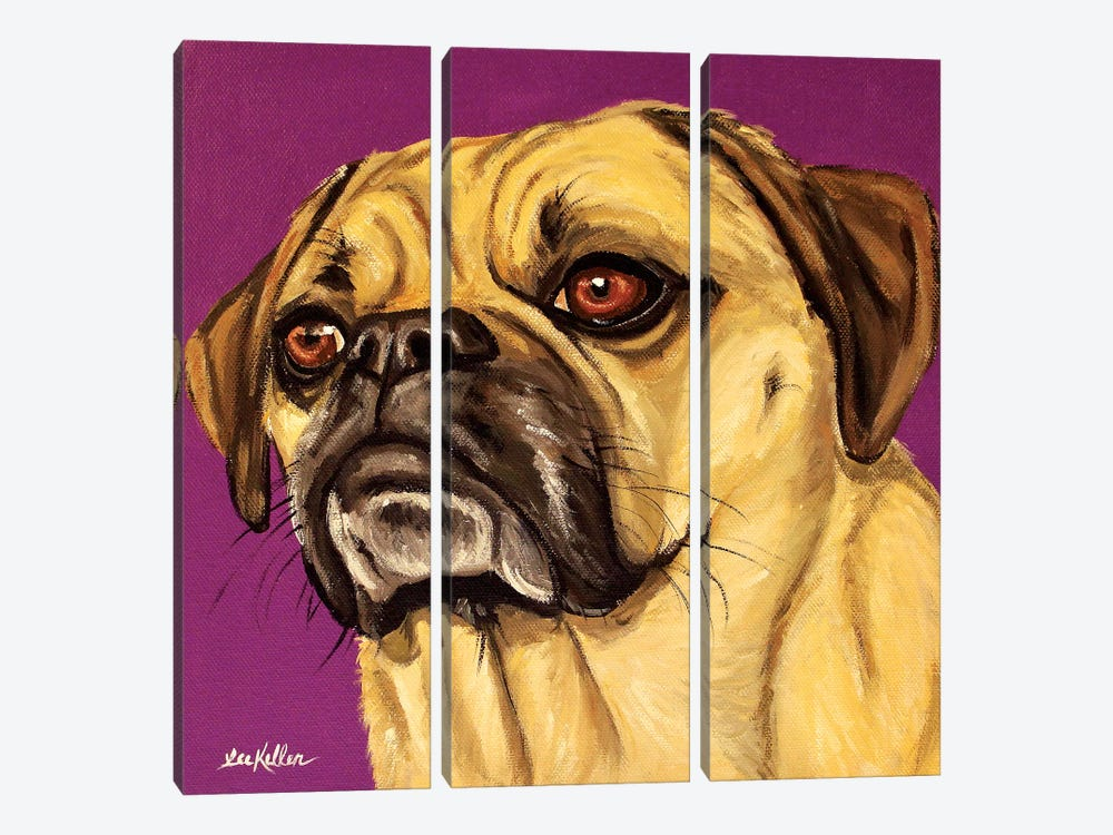 Puggle On Purple by Hippie Hound Studios 3-piece Canvas Art Print