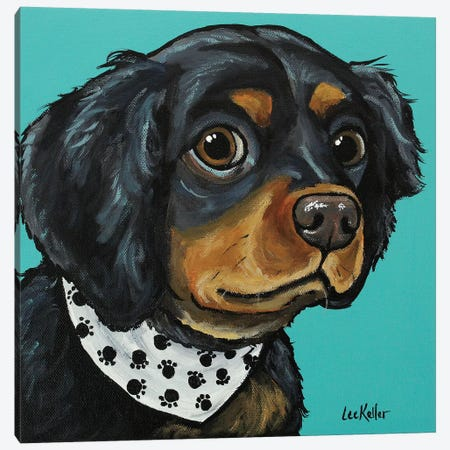Spaniel With Bandana Canvas Print #HHS312} by Hippie Hound Studios Canvas Art
