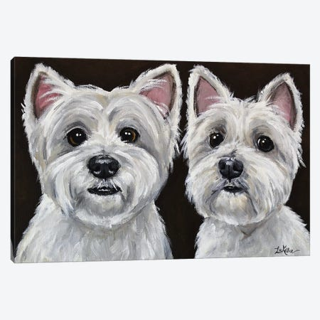 West Highland Terrier Pair Canvas Print #HHS314} by Hippie Hound Studios Canvas Print