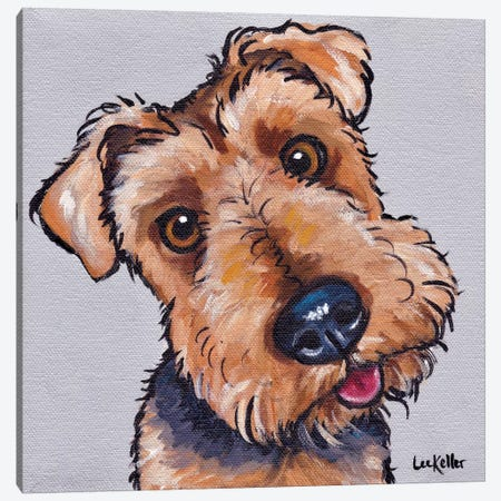 Levi The Airedale Terrier  Canvas Print #HHS317} by Hippie Hound Studios Art Print