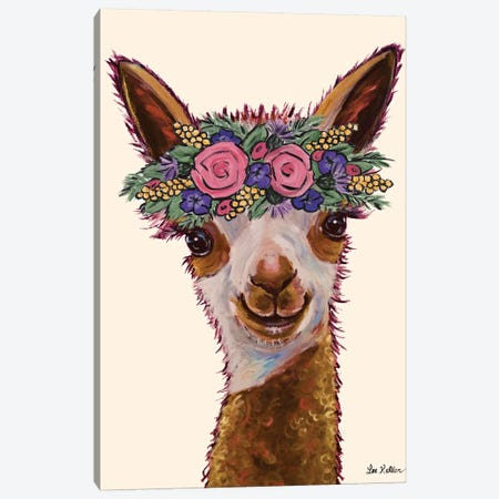 Rosie The Alpaca With Flowers Canvas Print #HHS318} by Hippie Hound Studios Canvas Art