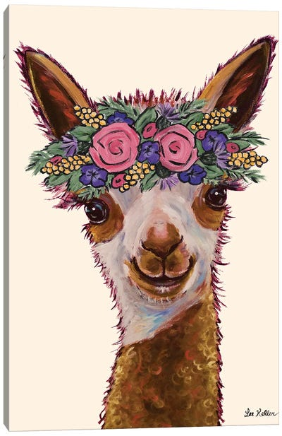 Rosie The Alpaca With Flowers Canvas Art Print