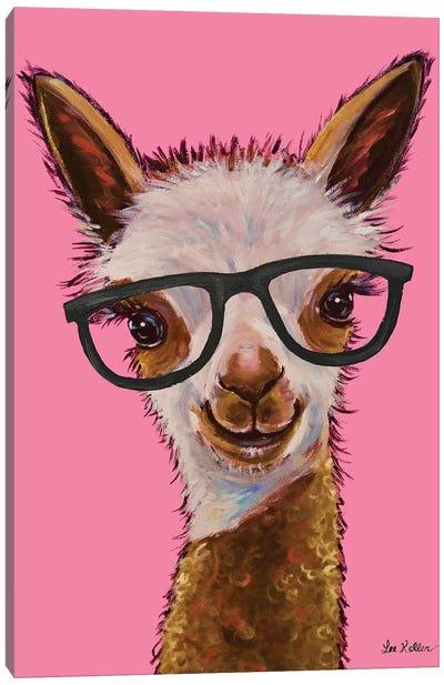 Rosie The Alpaca With Glasses Canvas Art Print