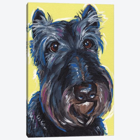Expressive Schnauzer On Yellow Canvas Print #HHS31} by Hippie Hound Studios Canvas Art Print
