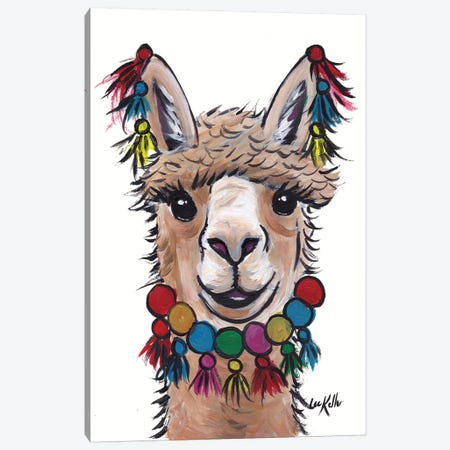 Alpaca With Tassels Canvas Print #HHS322} by Hippie Hound Studios Art Print
