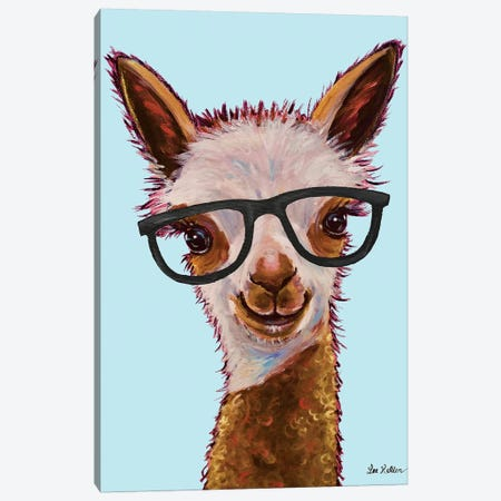 Rosie The Alpaca With Glasses On Turquoise Canvas Print #HHS323} by Hippie Hound Studios Canvas Art Print