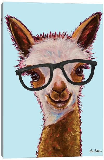 Rosie The Alpaca With Glasses On Turquoise Canvas Art Print