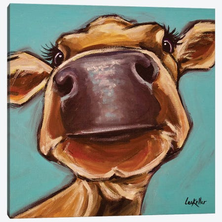 Cow Close-up Canvas Print #HHS327} by Hippie Hound Studios Canvas Art