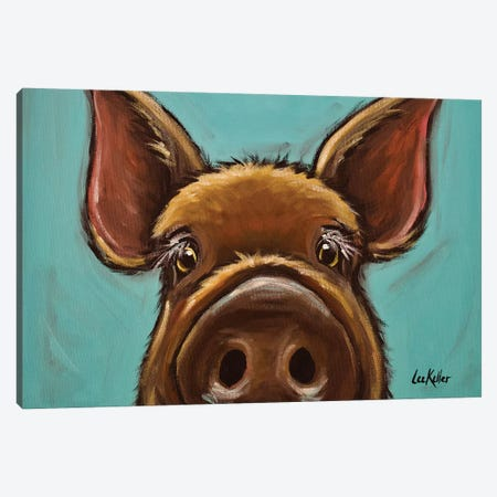 Elmer The Pig Canvas Print #HHS329} by Hippie Hound Studios Art Print