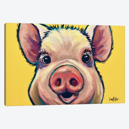 Marmalade The Pig On Yellow Canvas Print #HHS330} by Hippie Hound Studios Canvas Artwork