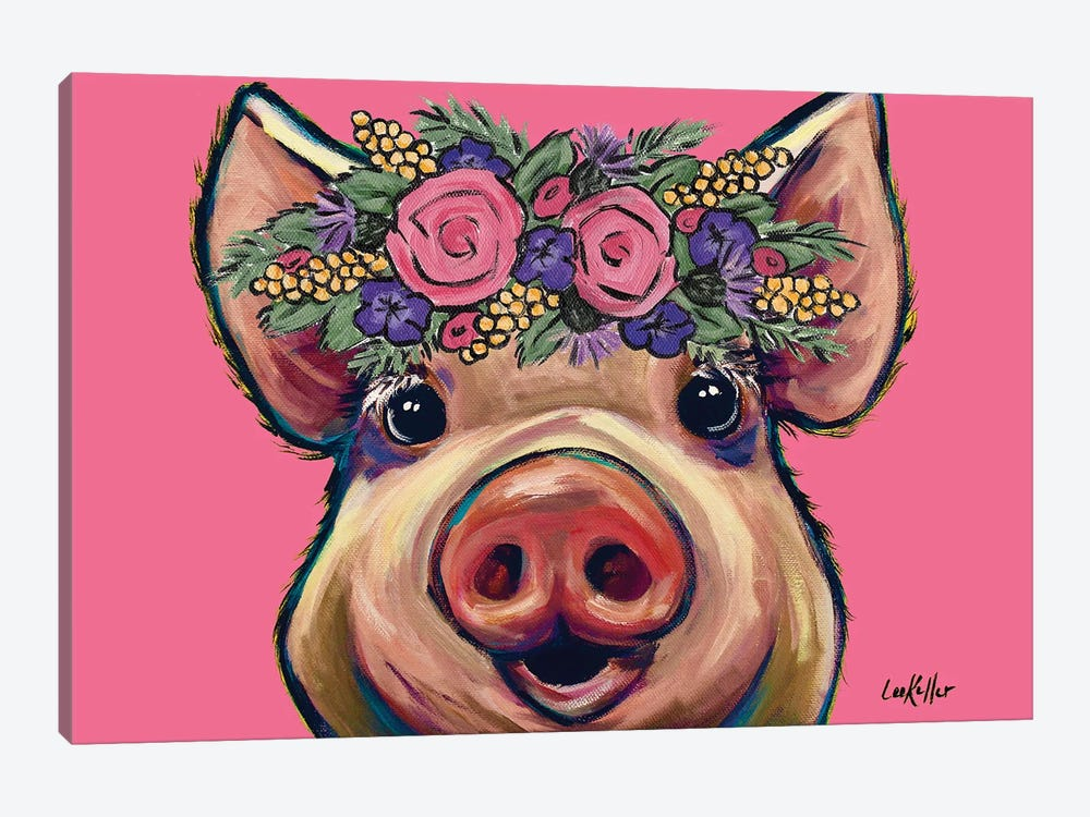 Marmalade The Pig With Flowers On Pink by Hippie Hound Studios 1-piece Canvas Print