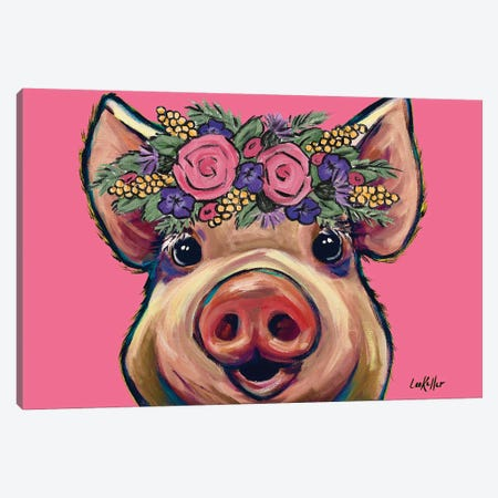 Marmalade The Pig With Flowers On Pink Canvas Print #HHS331} by Hippie Hound Studios Canvas Wall Art