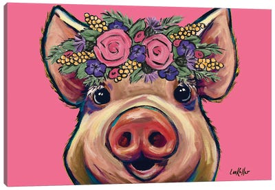Marmalade The Pig With Flowers On Pink Canvas Art Print