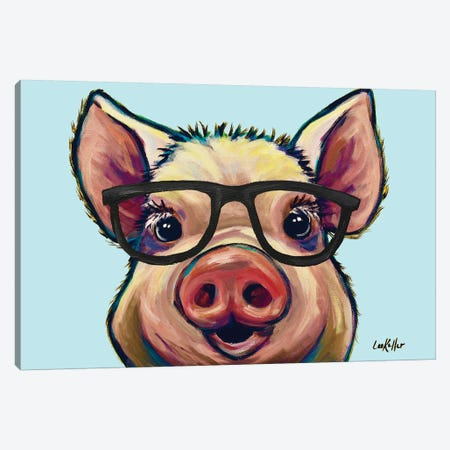 Marmalade The Pig With Glasses Canvas Print #HHS332} by Hippie Hound Studios Canvas Wall Art