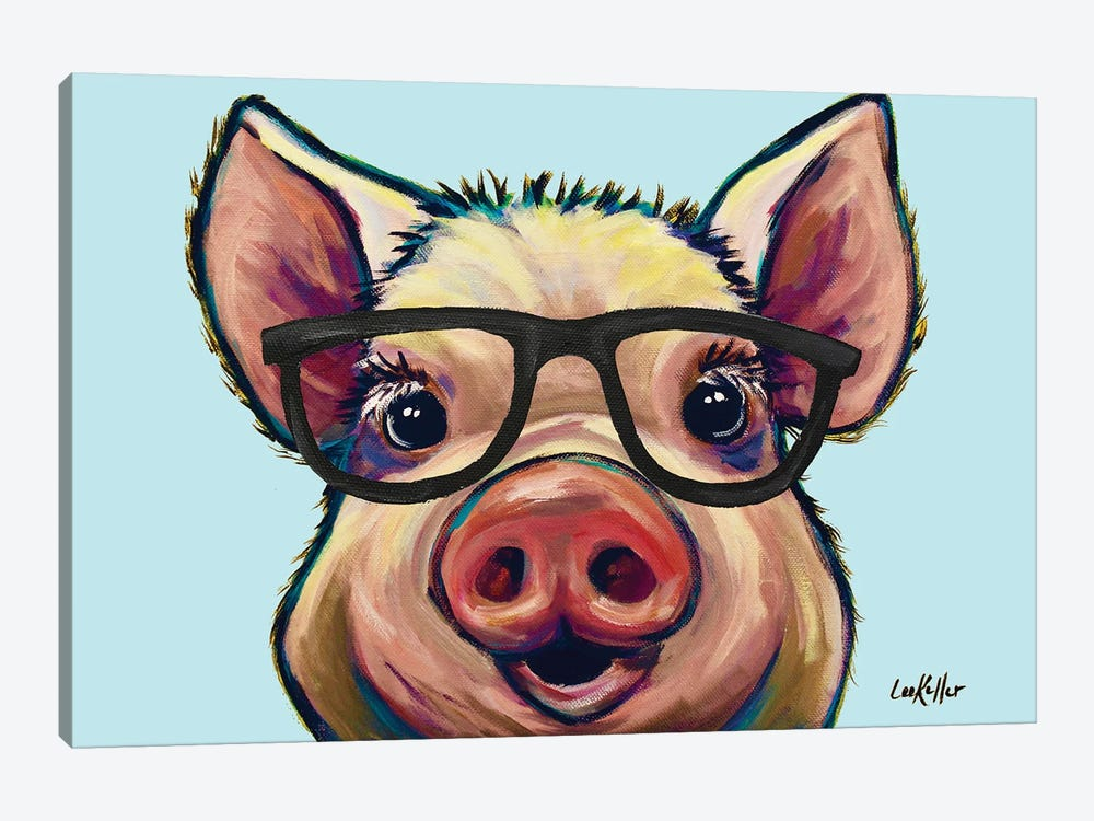 Marmalade The Pig With Glasses by Hippie Hound Studios 1-piece Canvas Art