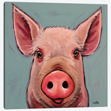 Reuben The Pig Canvas Print #HHS333} by Hippie Hound Studios Canvas Wall Art