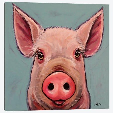 Reuben The Pig Canvas Print #HHS333} by Hippie Hound Studios Canvas Wall Art