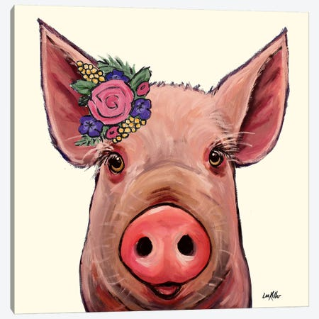 Reuben The Pig With Flowers On Cream Canvas Print #HHS334} by Hippie Hound Studios Canvas Print