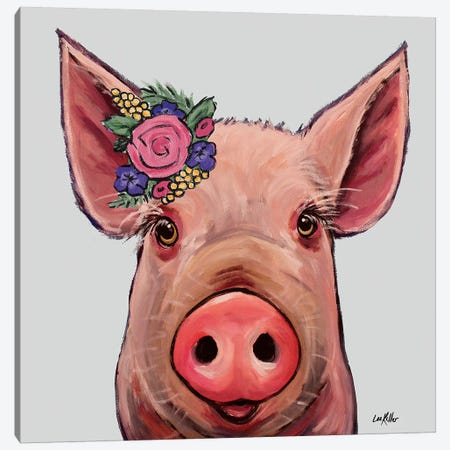 Reuben The Pig With Flowers On Gray Canvas Print #HHS335} by Hippie Hound Studios Art Print