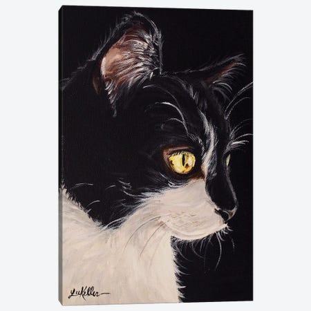 Tuxedo Cat Canvas Print #HHS338} by Hippie Hound Studios Canvas Art