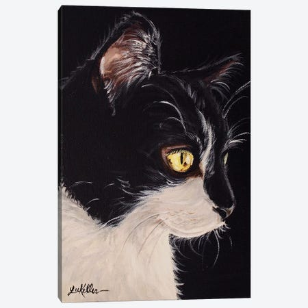 Tuxedo Cat Canvas Print #HHS338} by Hippie Hound Studios Canvas Art