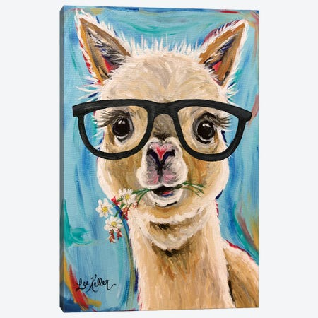 Alpaca Glasses  Canvas Print #HHS340} by Hippie Hound Studios Canvas Print