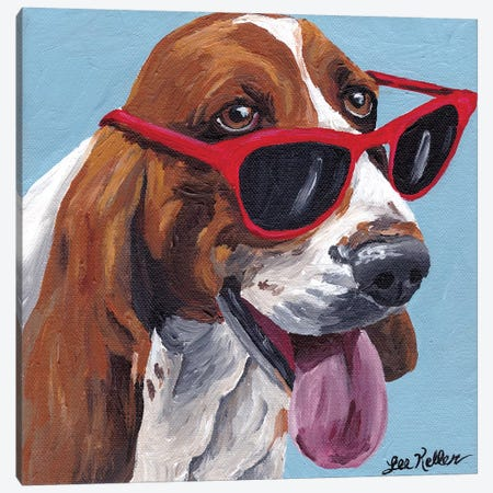 Bassett Hound Dog Painting Canvas Print #HHS342} by Hippie Hound Studios Canvas Print