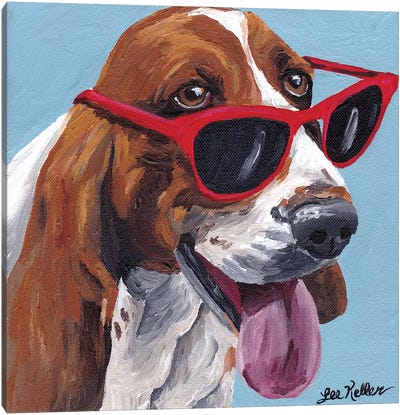Bassett Hound Dog Painting Canvas Art Print