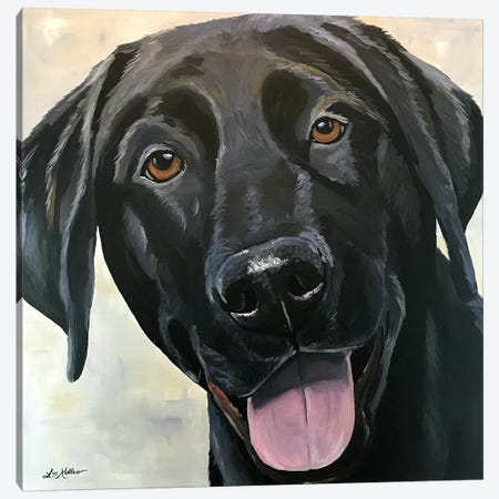 Black Lab Close Up Canvas Print #HHS345} by Hippie Hound Studios Canvas Art