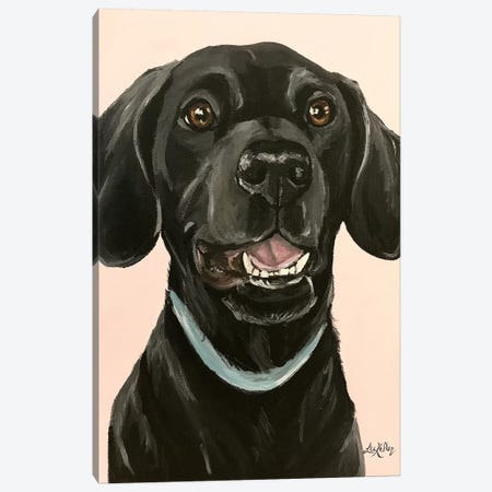Black Lab On Pink Canvas Print #HHS347} by Hippie Hound Studios Canvas Artwork
