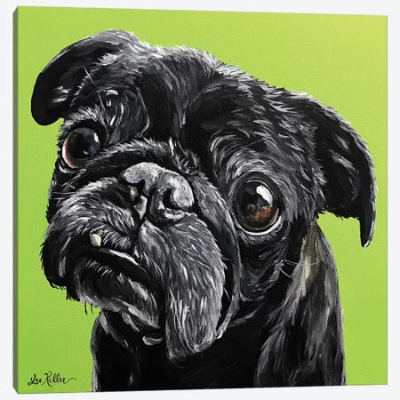Black Pug Canvas Print #HHS348} by Hippie Hound Studios Canvas Print