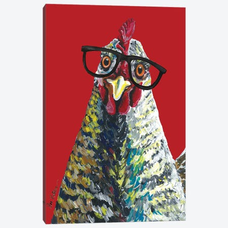 Chicken Willimina Glasses On Red Canvas Print #HHS369} by Hippie Hound Studios Art Print