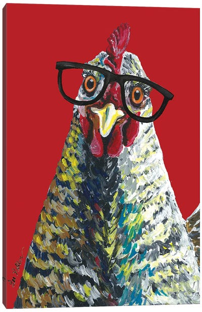 Chicken Willimina Glasses On Red Canvas Art Print
