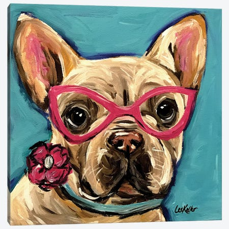 Frenchie With Glasses, Pearl Canvas Print #HHS36} by Hippie Hound Studios Canvas Art