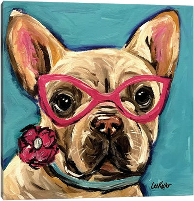 Frenchie With Glasses, Pearl Canvas Art Print