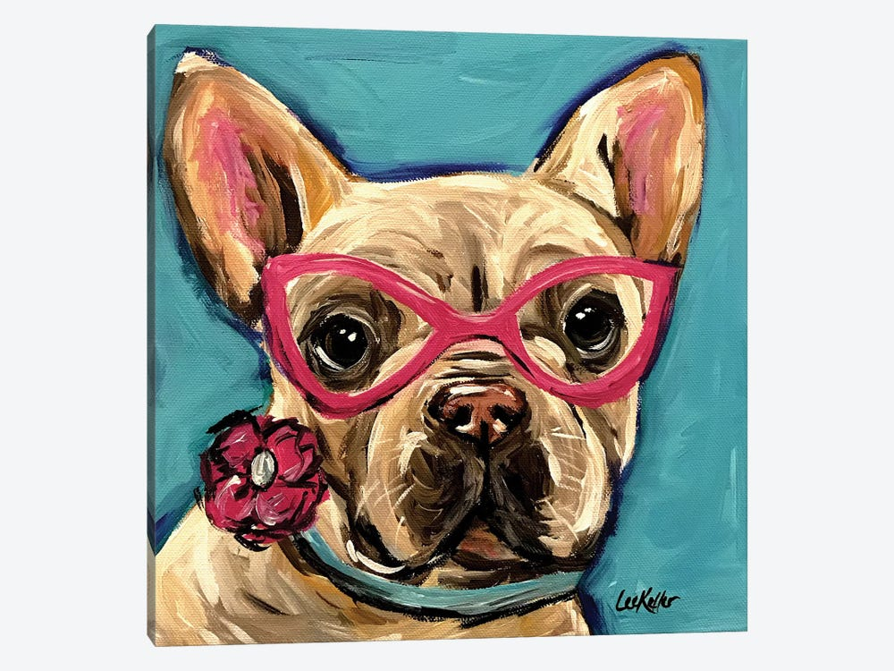 Frenchie With Glasses, Pearl by Hippie Hound Studios 1-piece Canvas Art Print