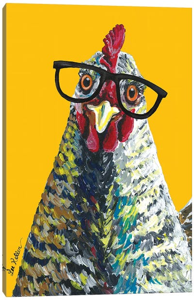 Chicken Willimina Glasses On Yellow Canvas Art Print